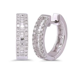 Nine Carat White Gold Diamond Hoop Earrings