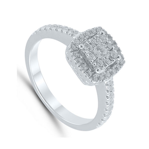 9 Carat White Gold Square Cluster Diamond Ring (0.50ct)