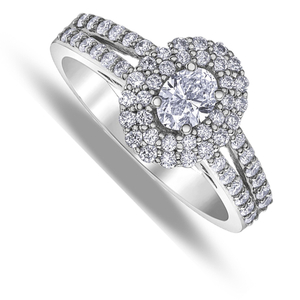 Eighteen carat white gold oval double shoulder diamond ring