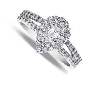 Eighteen Carat White Gold Pear Shape Diamond  Cluster Ring