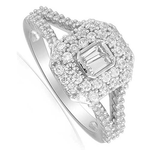 Nine Carat White Gold Diamond Cluster Ring