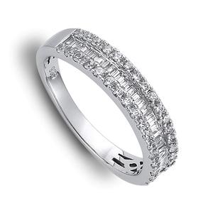 Nine Carat White Gold Diamond Half Band Ring