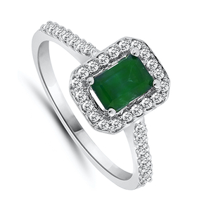 Nine carat white gold emerald and diamond cluster ring