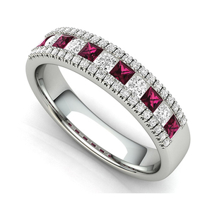 Nine carat white gold ruby and diamond half band ring