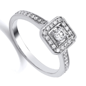 Nine Carat White Gold Square Halo Diamond Cluster Ring