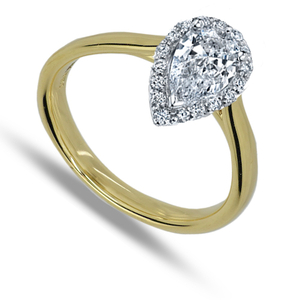 Eighteen Carat White Gold Pear Shape Diamond Ring