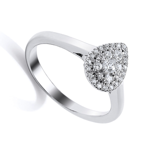 Nine carat white gold pear shape diamond cluster ring