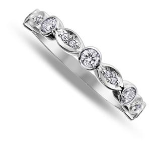Nine carat white gold diamond band ring