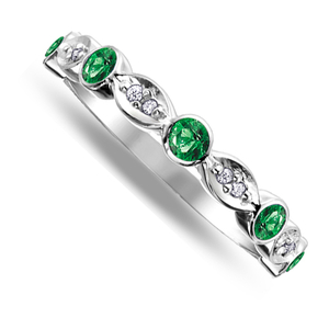 Nine carat white gold emerald and diamond band ring