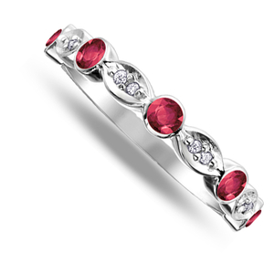 Nine carat white gold ruby and diamond band ring