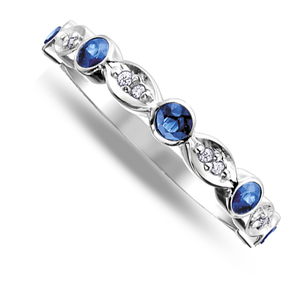 Nine carat white gold sapphire and diamond band ring
