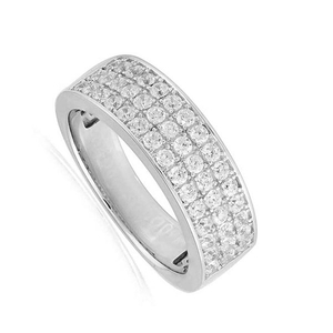 9 Carat White Gold Three Row Diamond Band (1.00ct)