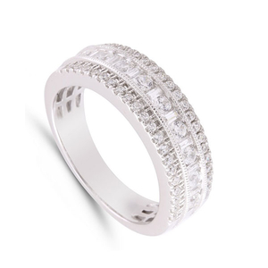 9 Carat White Gold Three Row Diamond Ring (0.75ct)