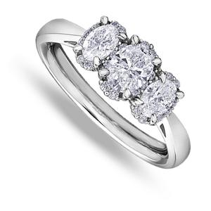 Eighteen Carat White Gold Three Diamond Ring