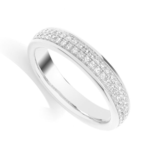 9 Carat White Gold Two Row Diamond Band (0.25ct)