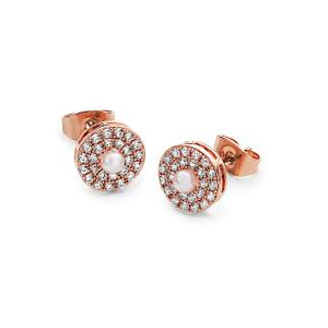 Tipperary Rose Gold Plated Cubic Zirconia and Simulated Pearl Circle Earrings 