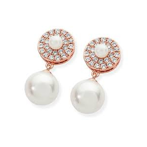 Tipperary Rose Gold Plated Cubic Zirconia and Simulated Pearl Circle Drops 