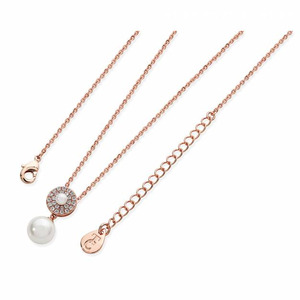 Tipperary Rose Gold Plated  Cubic Zirconia and Simulated Pearl Circle Pendant