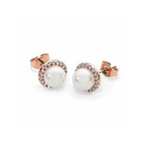 Tipperary Rose Gold Plated Cubic Zirconia and Simulated Pearl Circle Studs