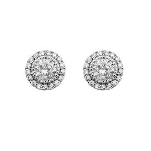 Tipperary Silver Plated Cubic Zirconia Pave Surround Studs 