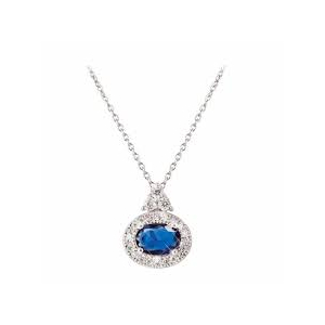Tipperary Silver Plated Oval Cubic Zirconia and Sapphire Pendant​