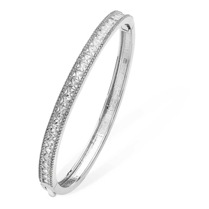 Tipperary Silver Bangle with encrusted Cubic Zirconia