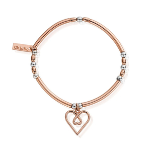 ChloBo Rose Gold and Silver Love Heart Bracelet