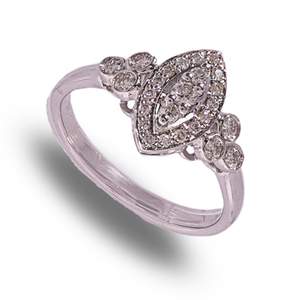 9 carat white gold marquise shape diamond cluster ring
