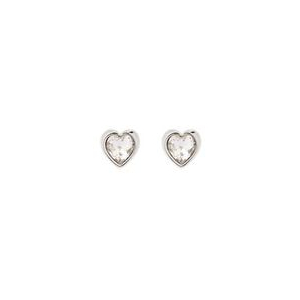 Ted Baker Silver Plated Crystal Heart Studs