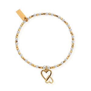 ChloBo Yellow Gold and Sterling Silver Interlocking Love Heart Bracelet​