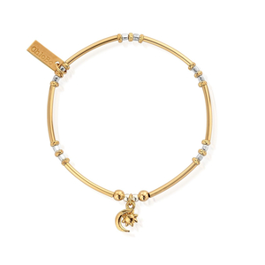 ChloBo Yellow Gold and Sterling Silver Moon and Sun Bracelet