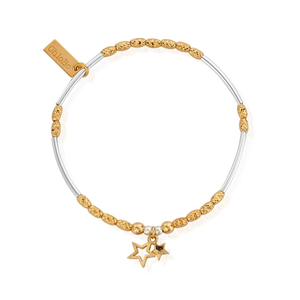 ChloBo Yellow Gold and Sterling Silver Double Star Bracelet