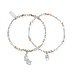 ChloBo Yellow Gold and Sterling Silver Strength and Courage Set Of 2