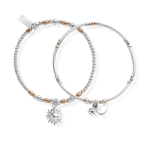 ChloBo Rose Gold and Silver Dusk to Dawn Bracelet x2