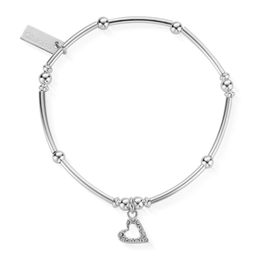 ChloBo Sterling Silver Mini Noodle Ball Patterned Heart Bracelet