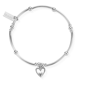 ChloBo Sterling Silver Mini Noodle Ball Heart Bracelet