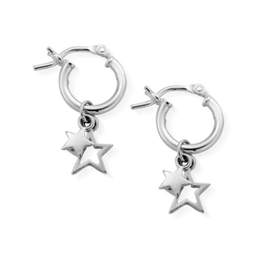 ChloBo Sterling Silver Double Star Small Hoops