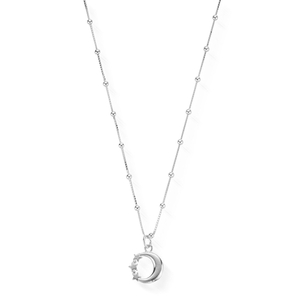 ChloBo Sterling Silver Bobble Chain Moon Necklace