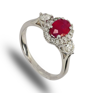 9 carat white gold ruby and diamond cluster ring