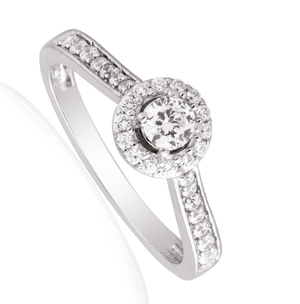 Nine carat white gold diamond set halo ring
