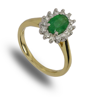 9 carat gold emerald and diamond cluster ring