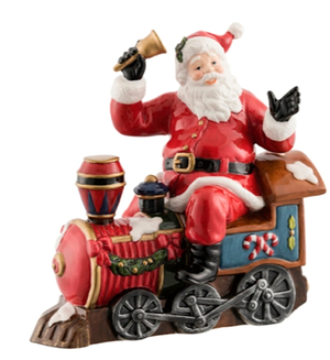 Aynsley Santa on a train figure