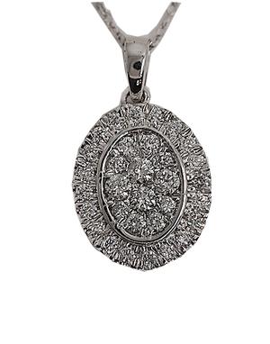 9 carat white gold oval diamond pendant & earrings