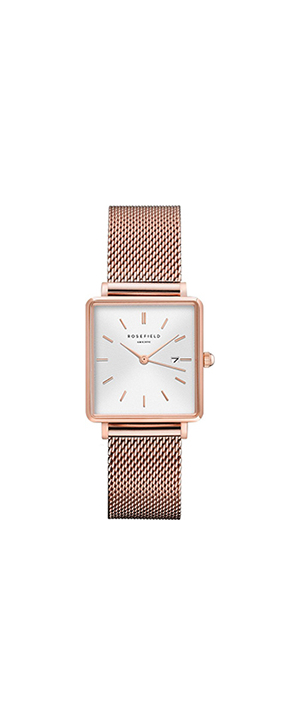Rosefield The Boxy Rose Mesh Bracelet Watch