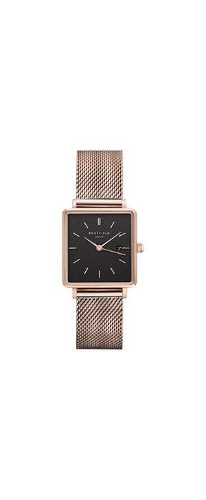 Rosefield The Boxy Mesh Rose Gold Bracelet Watch
